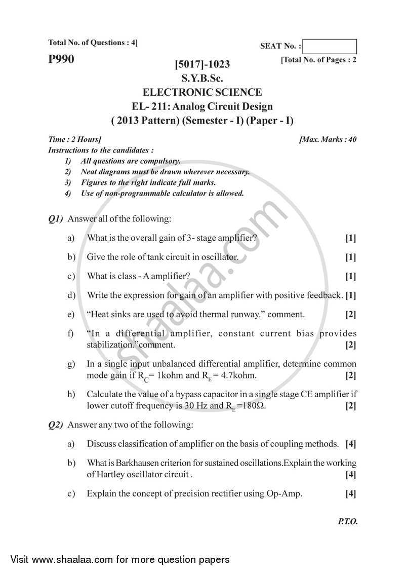 question paper b sc electronic science semester 3 (sybsc) analog