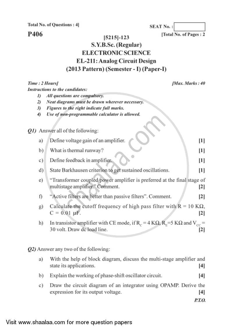 question paper b sc electronic science semester 3 (sybsc) analogquestion paper analog circuit design 2017 2018 b sc semester