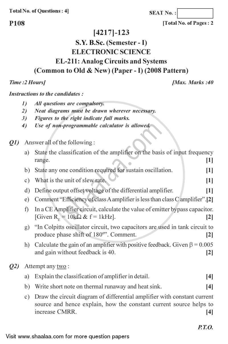 Question Paper - Analog Circuits and Systems 2012 - 2013-B.Sc.-Semester 3 (SYBSc) University of Pune