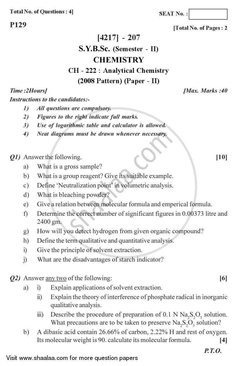 Analytical Chemistry 2012-2013 - B.Sc. - Semester 4 (SYBSc) - University of Pune question paper with PDF download