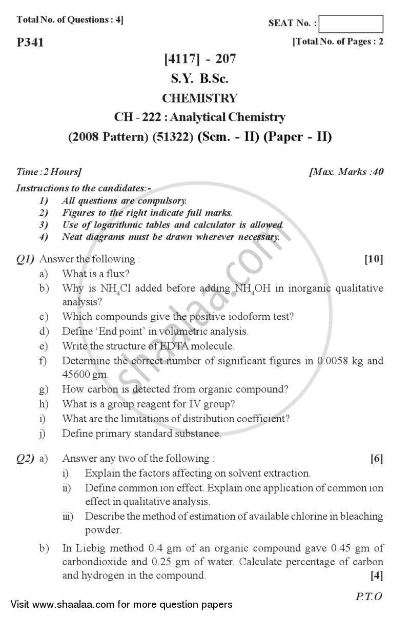 Question Paper - Analytical Chemistry 2012 - 2013 - B.Sc. - Semester 4 (SYBSc) - University of Pune
