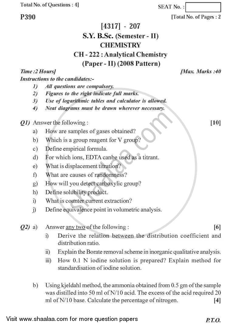 Analytical Chemistry 2013-2014 - B.Sc. - Semester 4 (SYBSc) - University of Pune question paper with PDF download