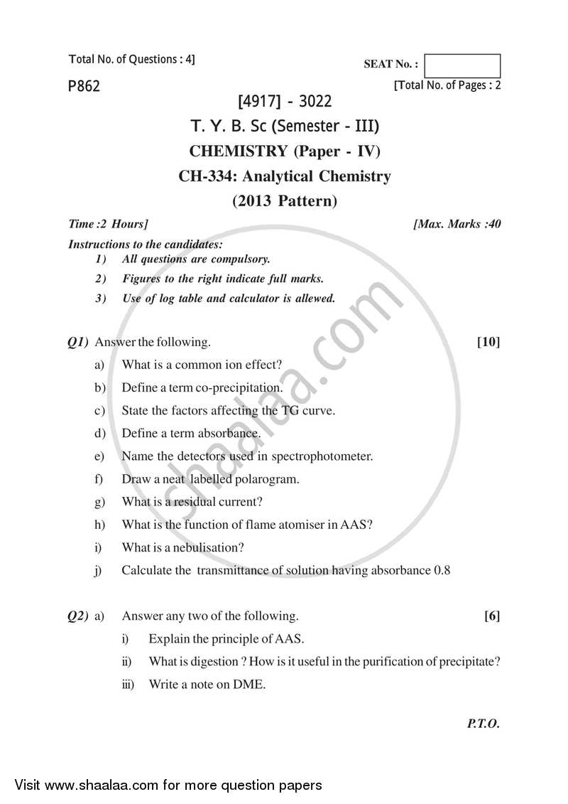 Analytical Chemistry 2015-2016 - B.Sc. - Semester 5 (TYBSc) - University of Pune question paper with PDF download