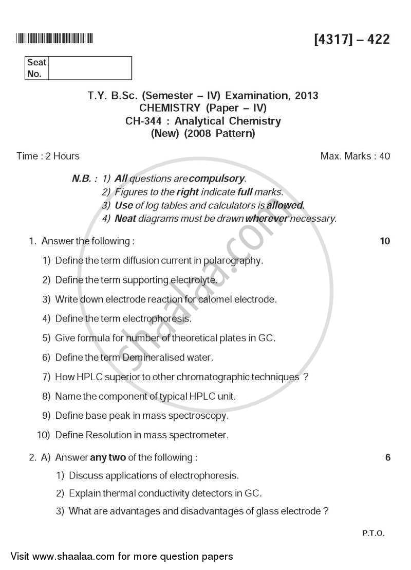 Analytical Chemistry 2013-2014 - B.Sc. - Semester 6 (TYBSc) - University of Pune question paper with PDF download