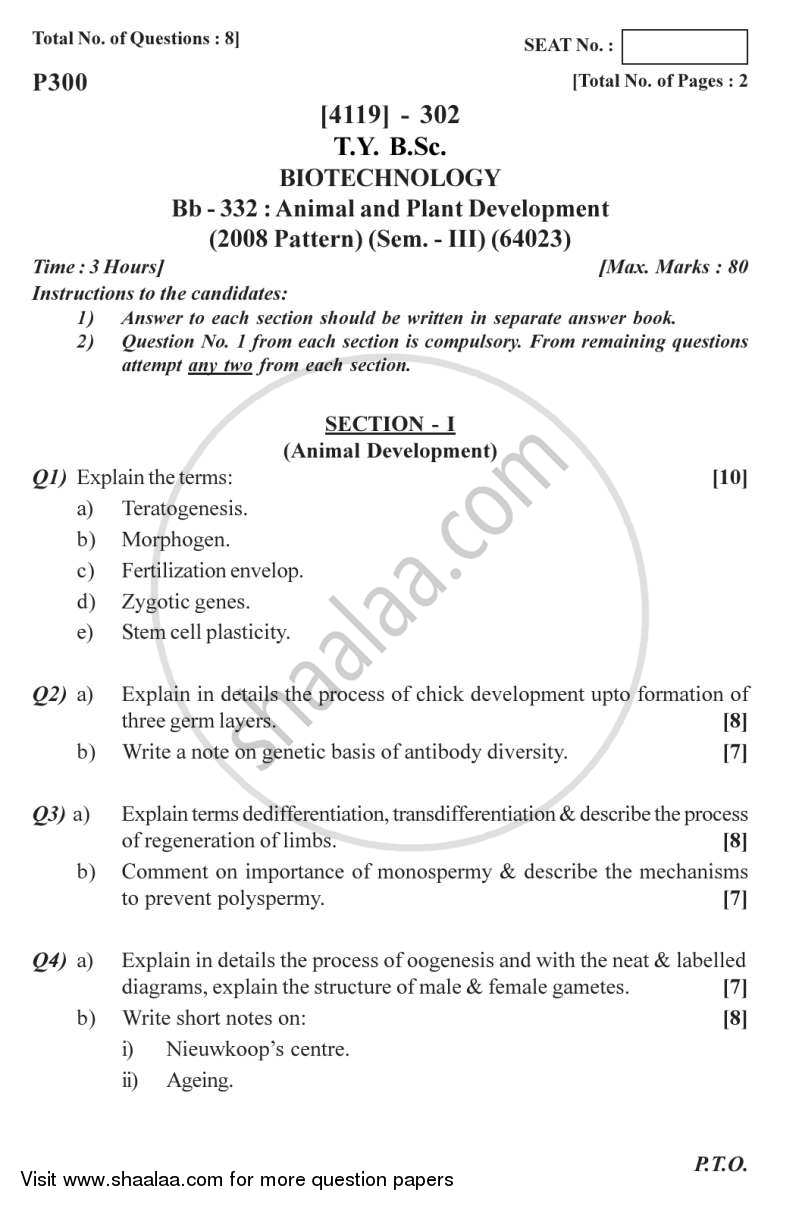 Animal and Plant Development 2012-2013 - B.Sc. - Semester 5 (TYBSc) - University of Pune question paper with PDF download