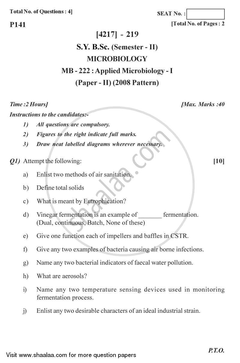 Applied Microbiology 1 2012-2013 - B.Sc. - Semester 4 (SYBSc) - University of Pune question paper with PDF download