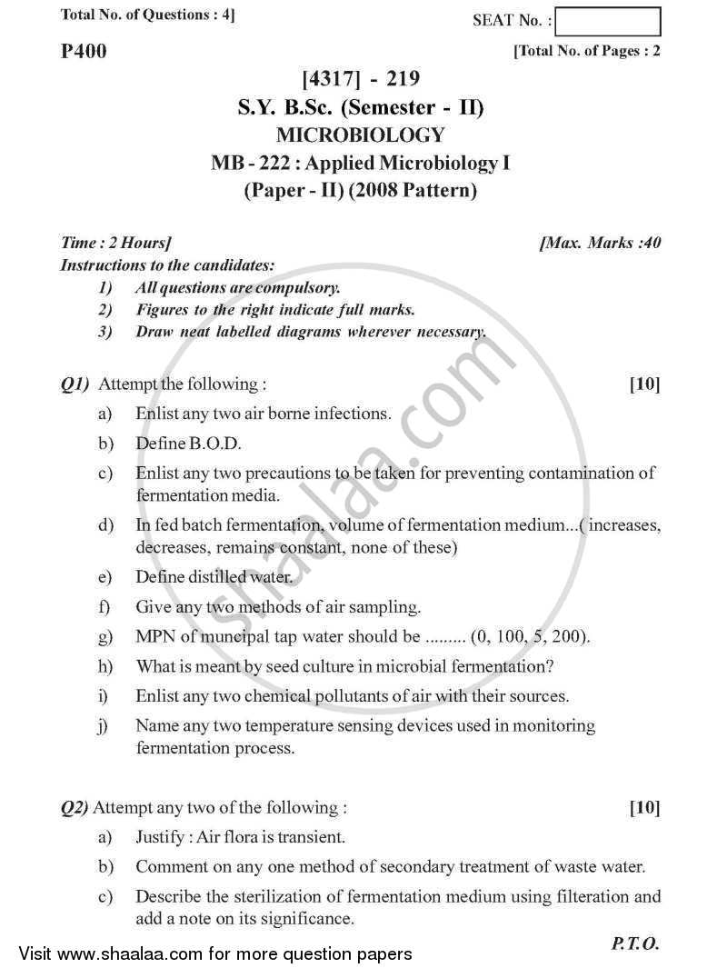 Applied Microbiology 1 2013-2014 - B.Sc. - Semester 4 (SYBSc) - University of Pune question paper with PDF download