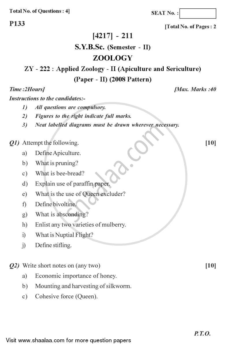 Question Paper - Applied Zoology 2 2012 - 2013 - B.Sc. - Semester 4 (SYBSc) - University of Pune