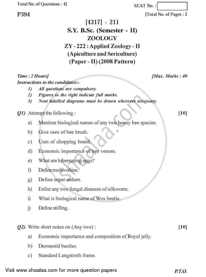 Question Paper - Applied Zoology 2 2013 - 2014-B.Sc.-Semester 4 (SYBSc) University of Pune