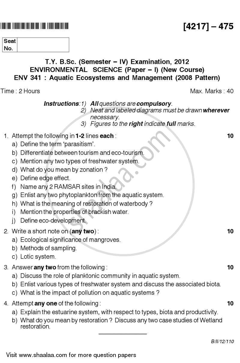 Question Paper - Aquatic Ecosystems and Management 2012 - 2013 - B.Sc. - Semester 6 (TYBSc) - University of Pune
