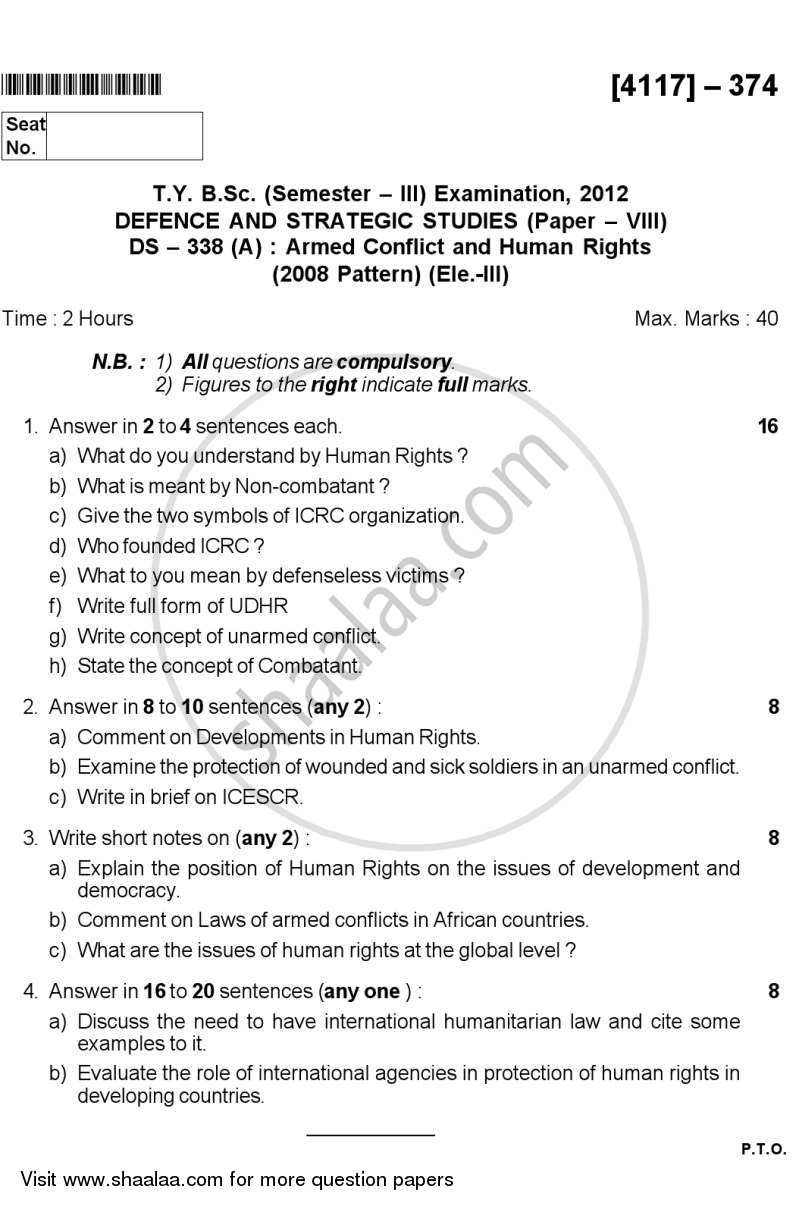Armed Conflict and Human Rights 2012-2013 - B.Sc. - Semester 5 (TYBSc) - University of Pune question paper with PDF download
