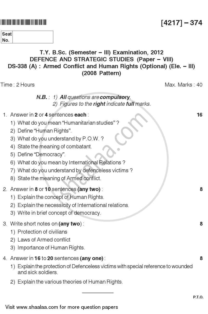 Question Paper - Armed Conflict and Human Rights 2012 - 2013 - B.Sc. - Semester 5 (TYBSc) - University of Pune