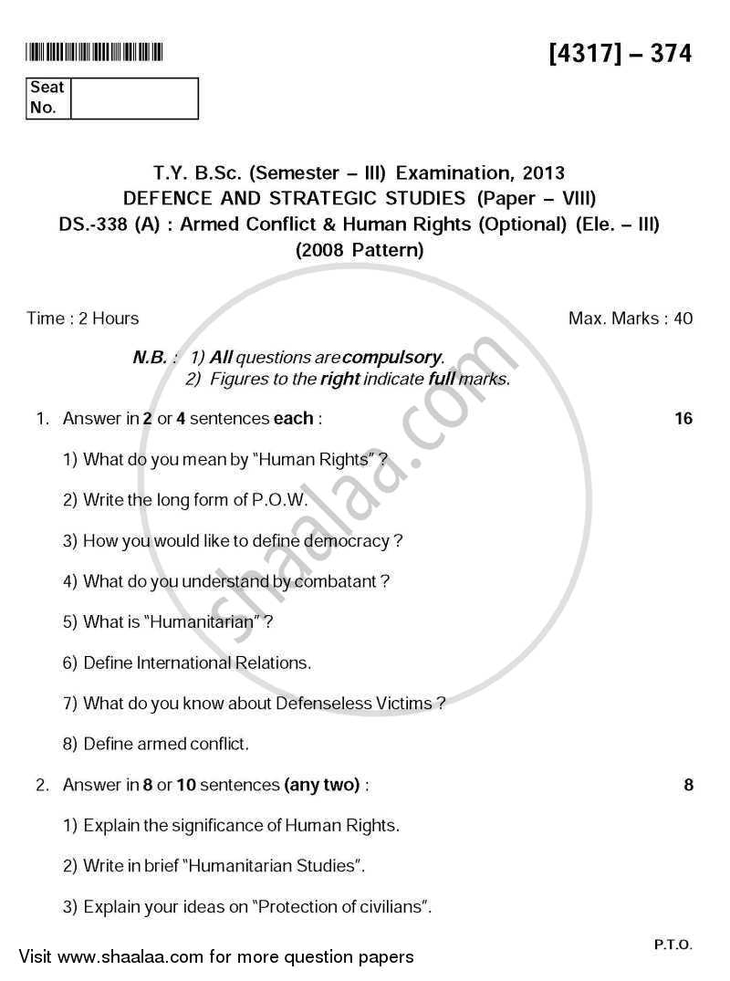 Question Paper - Armed Conflict and Human Rights 2013 - 2014 - B.Sc. - Semester 5 (TYBSc) - University of Pune