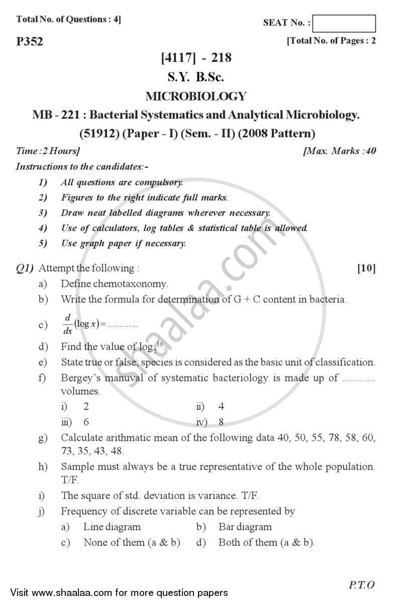 Question Paper - Bacterial Systematics and Analytical Microbiology 2012 - 2013 - B.Sc. - Semester 4 (SYBSc) - University of Pune