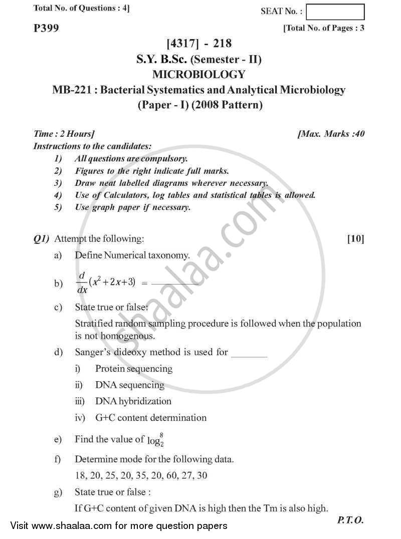 Bacterial Systematics and Analytical Microbiology 2013-2014 - B.Sc. - Semester 4 (SYBSc) - University of Pune question paper with PDF download