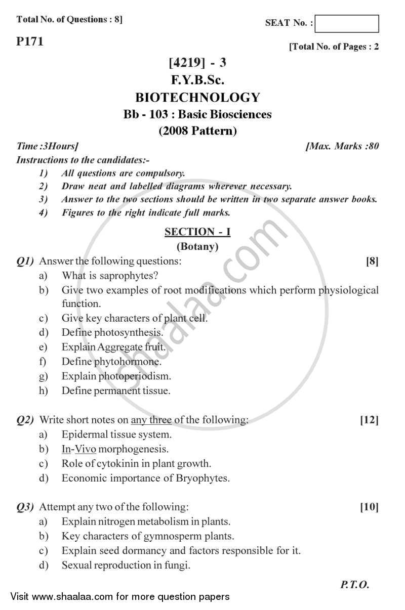 Question Paper - Basic Biosciences 2012 - 2013 - B.Sc. - Semester 2 (FYBSc) - University of Pune