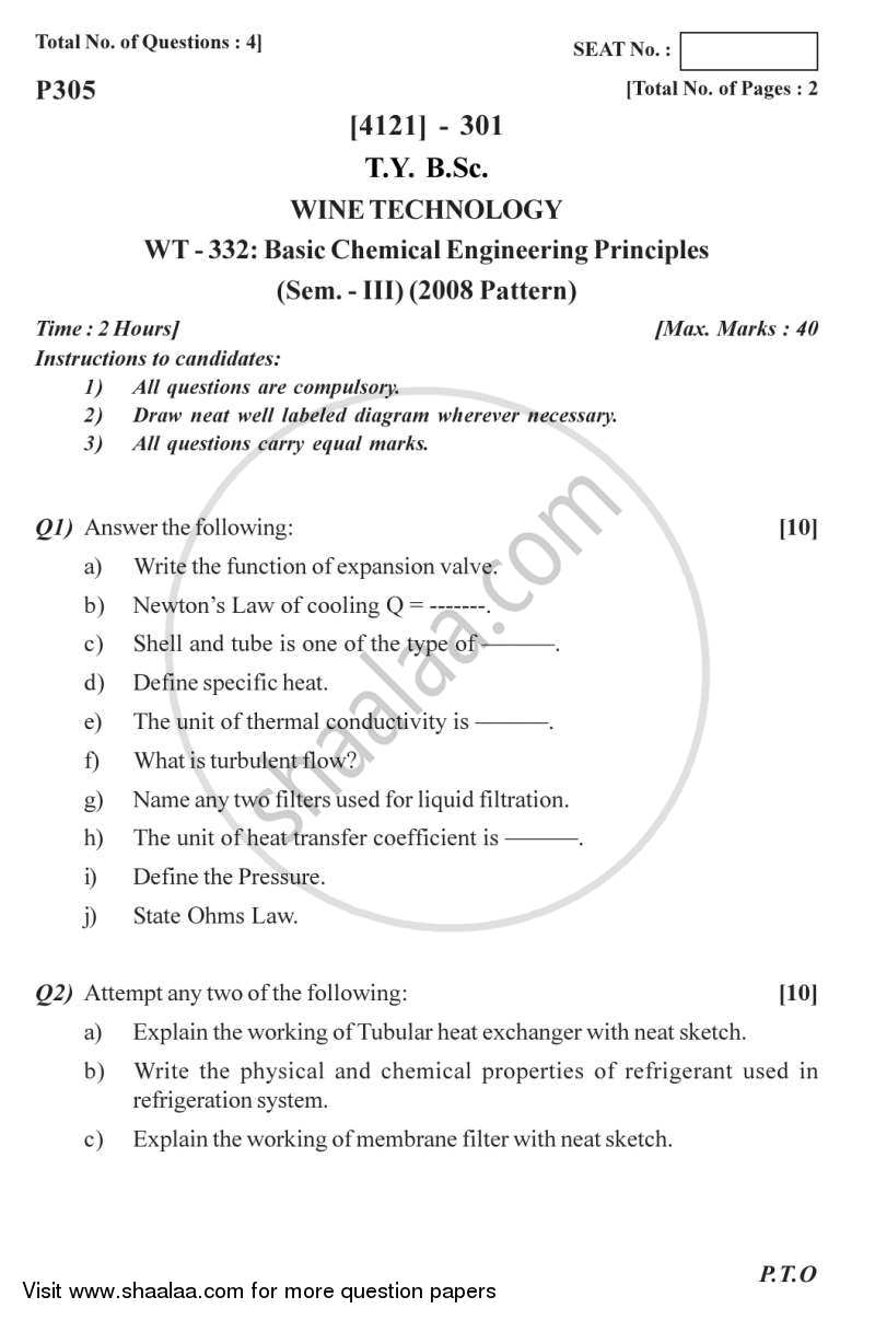 Question Paper - Basic Chemical Engineering Principles 2012 - 2013 - B.Sc. - Semester 5 (TYBSc) - University of Pune