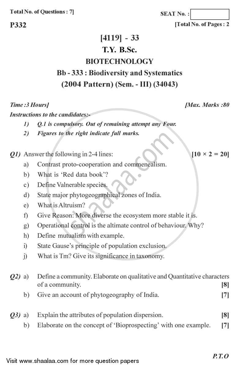 Question Paper - Biodiversity and Systematics 2012 - 2013 - B.Sc. - Semester 5 (TYBSc) - University of Pune