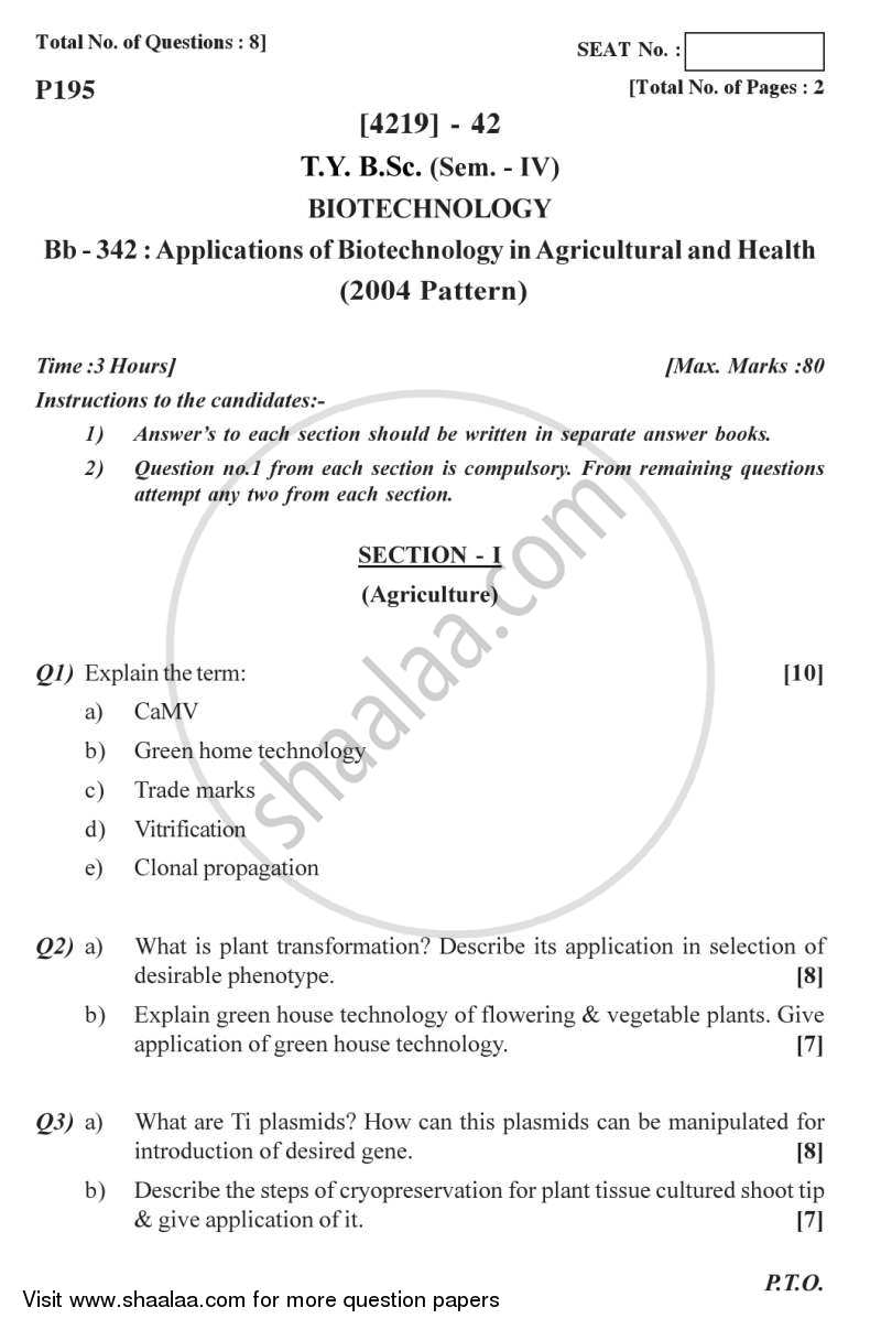 Question Paper - Biotechnology in Agriculture and Health 2012 - 2013 - B.Sc. - Semester 6 (TYBSc) - University of Pune