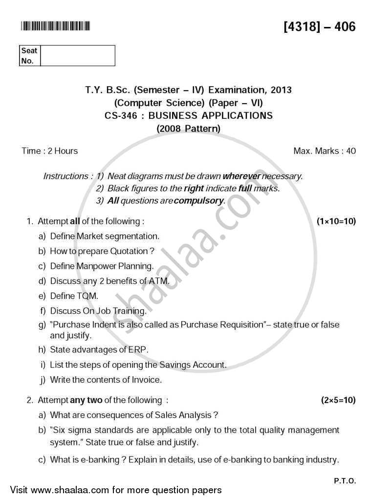 Business Applications 2013-2014 - B.Sc. - Semester 6 (TYBSc) - University of Pune question paper with PDF download