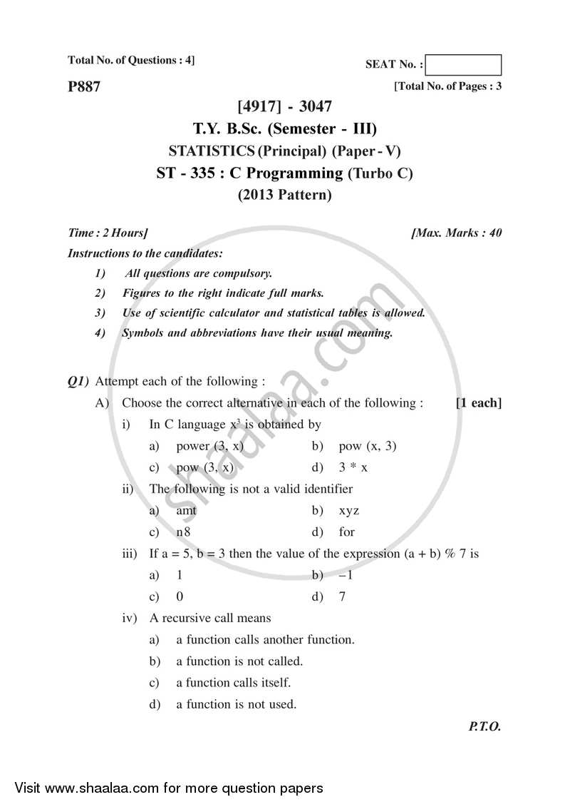 C Programming (Turbo C) 2015-2016 - B.Sc. - Semester 5 (TYBSc) - University of Pune question paper with PDF download