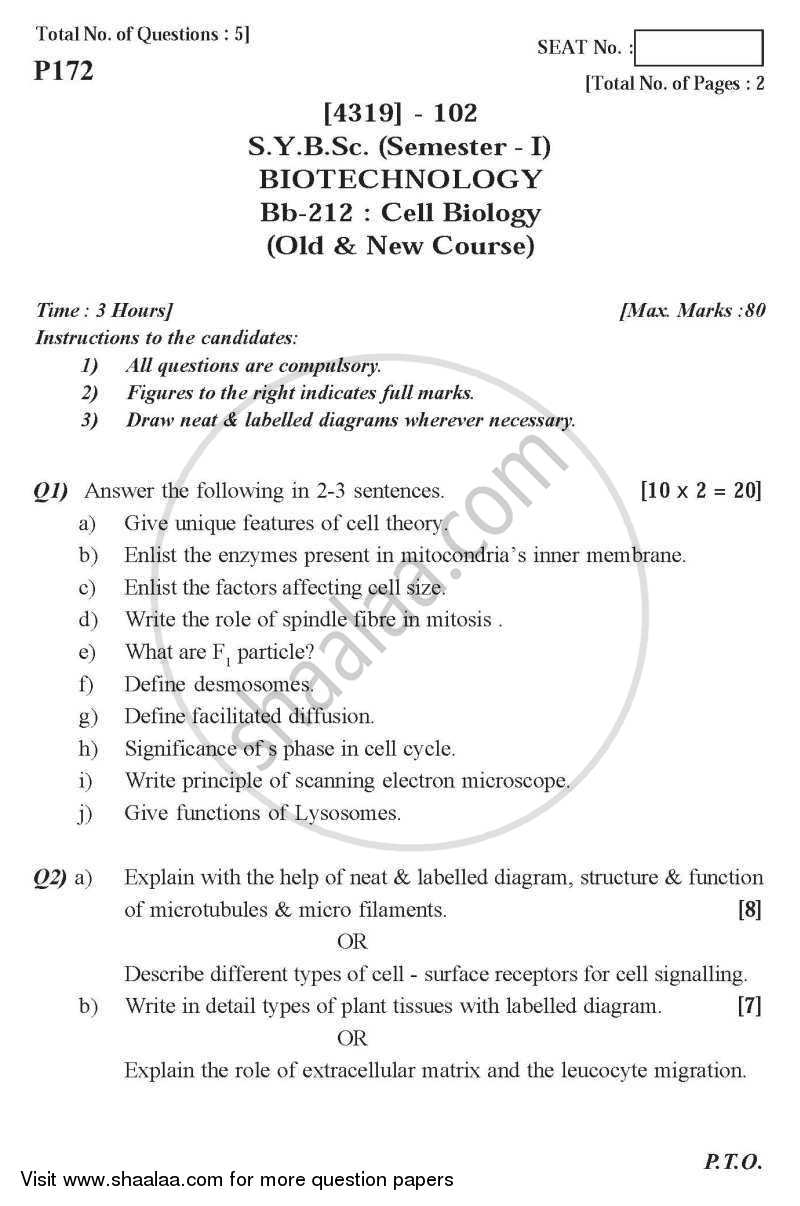 Question Paper - Cell Biology 2013 - 2014 - B.Sc. - Semester 3 (SYBSc) - University of Pune