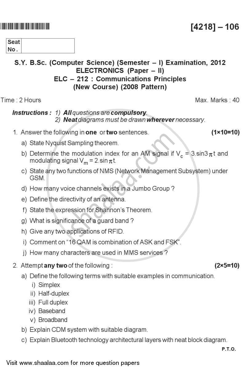 Question Paper - Communication Principles 2012 - 2013 - B.Sc. - Semester 3 (SYBSc) - University of Pune