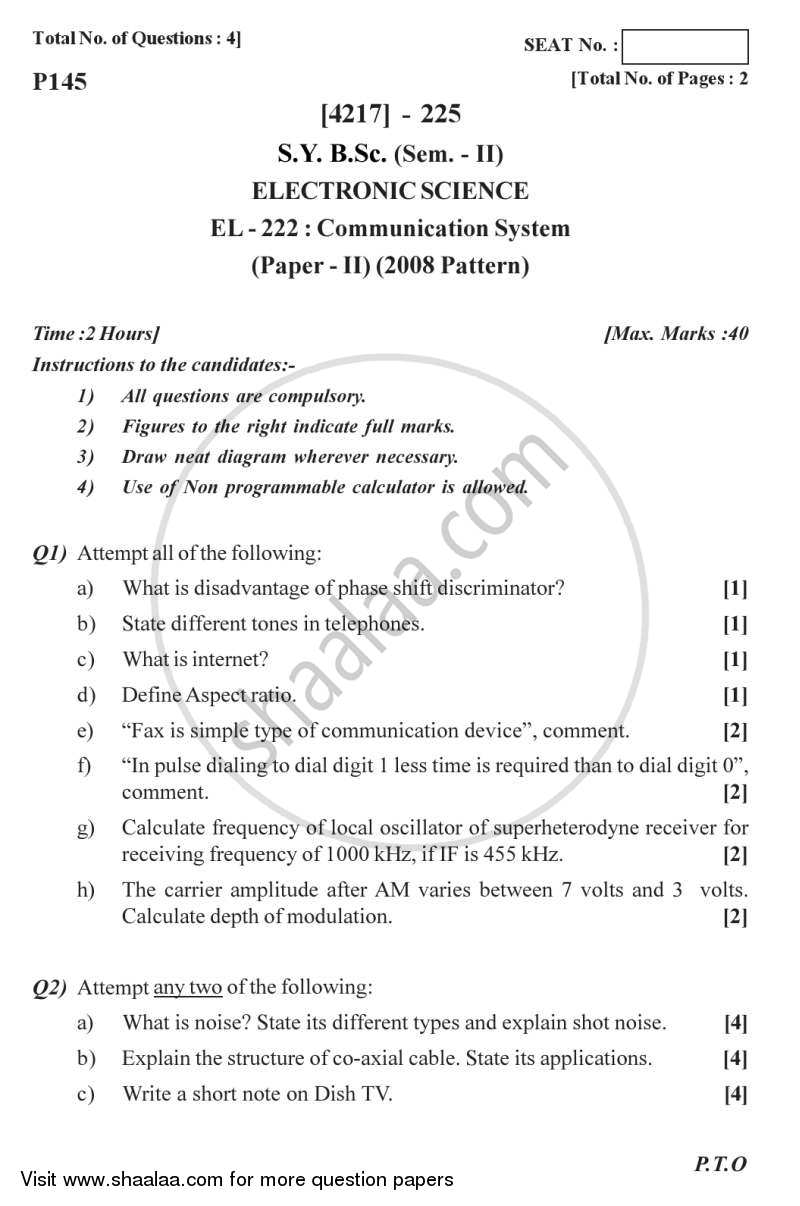 Question Paper - Communication System 2012 - 2013 - B.Sc. - Semester 4 (SYBSc) - University of Pune