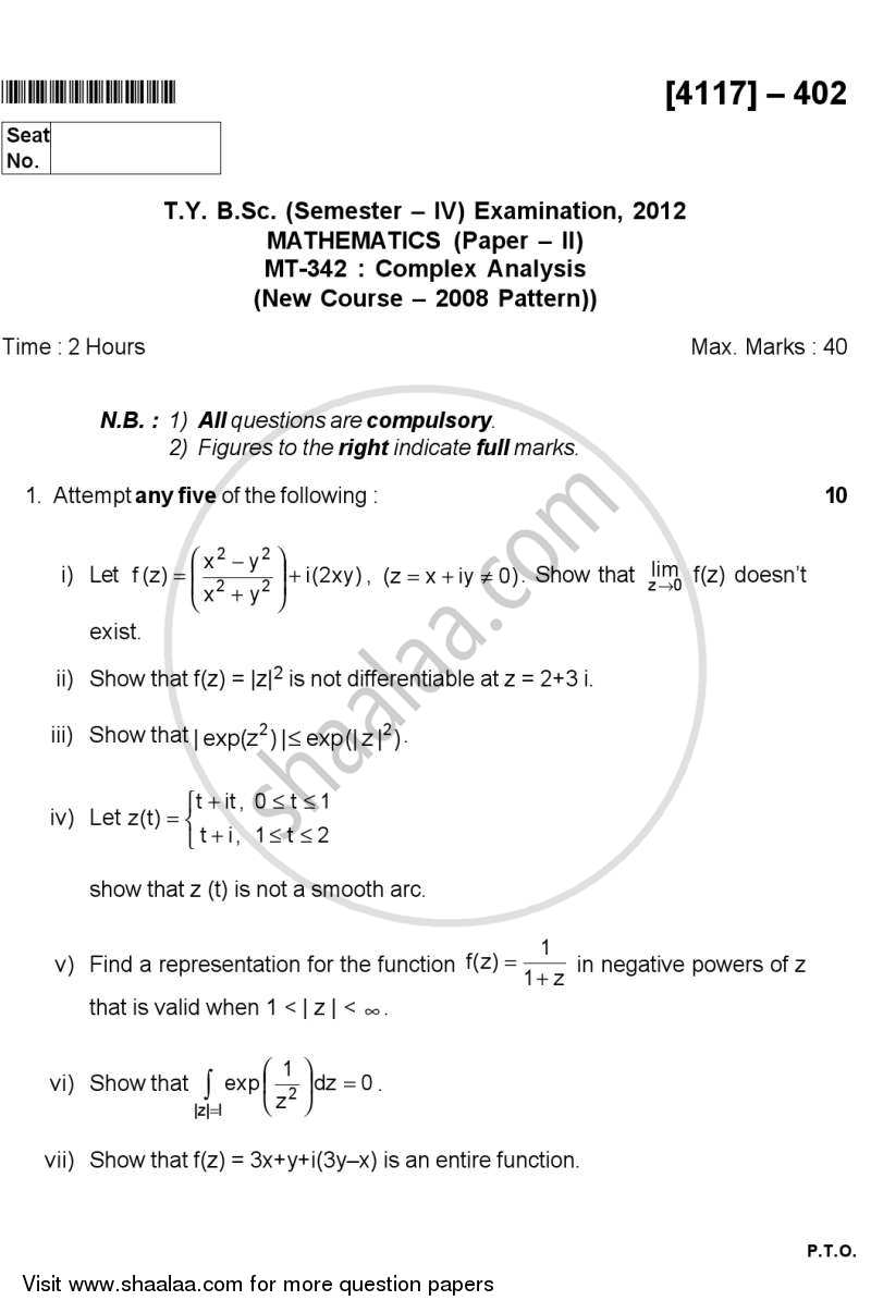 Question Paper - Complex Analysis 2012 - 2013 - B.Sc. - Semester 6 (TYBSc) - University of Pune
