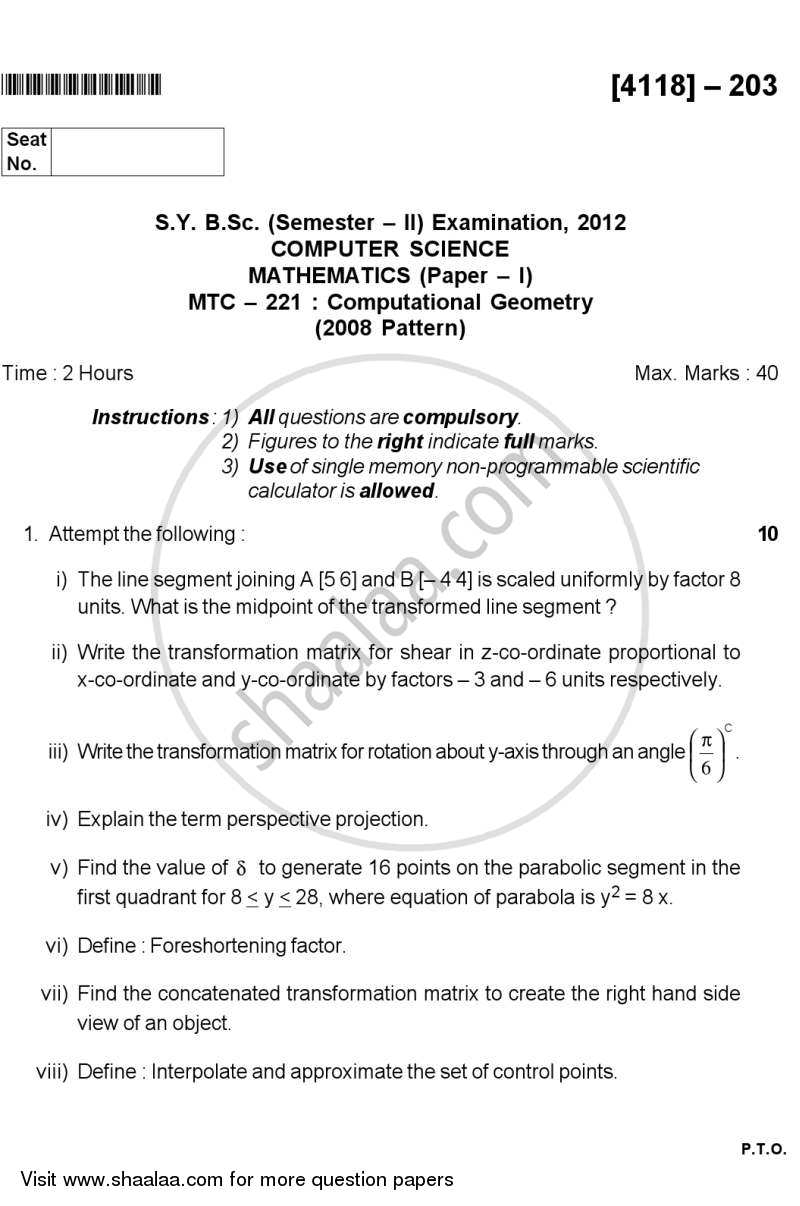 Question Paper - Computational Geometry 2012 - 2013 - B.Sc. - Semester 4 (SYBSc) - University of Pune