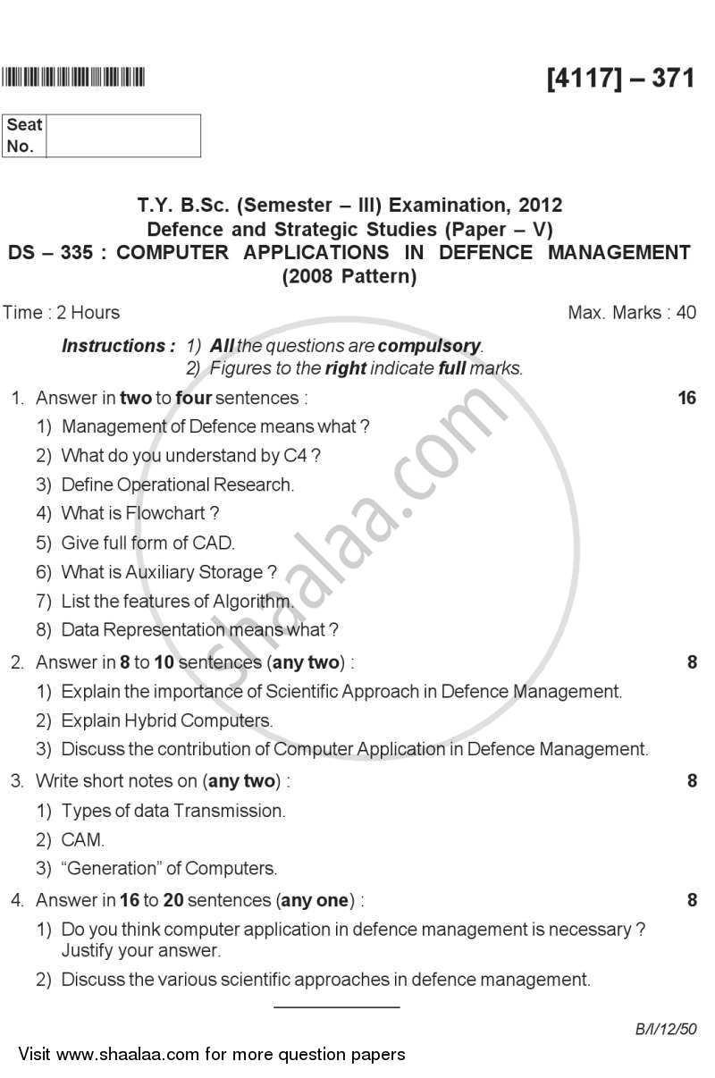 Question Paper - Computer Application in Defence Management 2012 - 2013-B.Sc.-Semester 5 (TYBSc) University of Pune