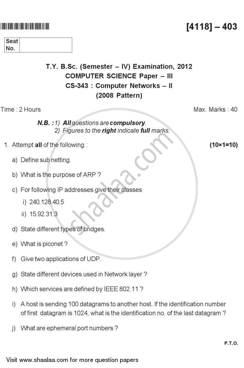 Question Paper - Computer Networks 2 2012 - 2013 - B.Sc. - Semester 6 (TYBSc) - University of Pune