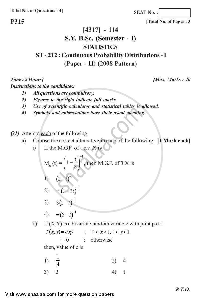 Continuous Probability Distributions 1 2013-2014 - B.Sc. - Semester 3 (SYBSc) - University of Pune question paper with PDF download