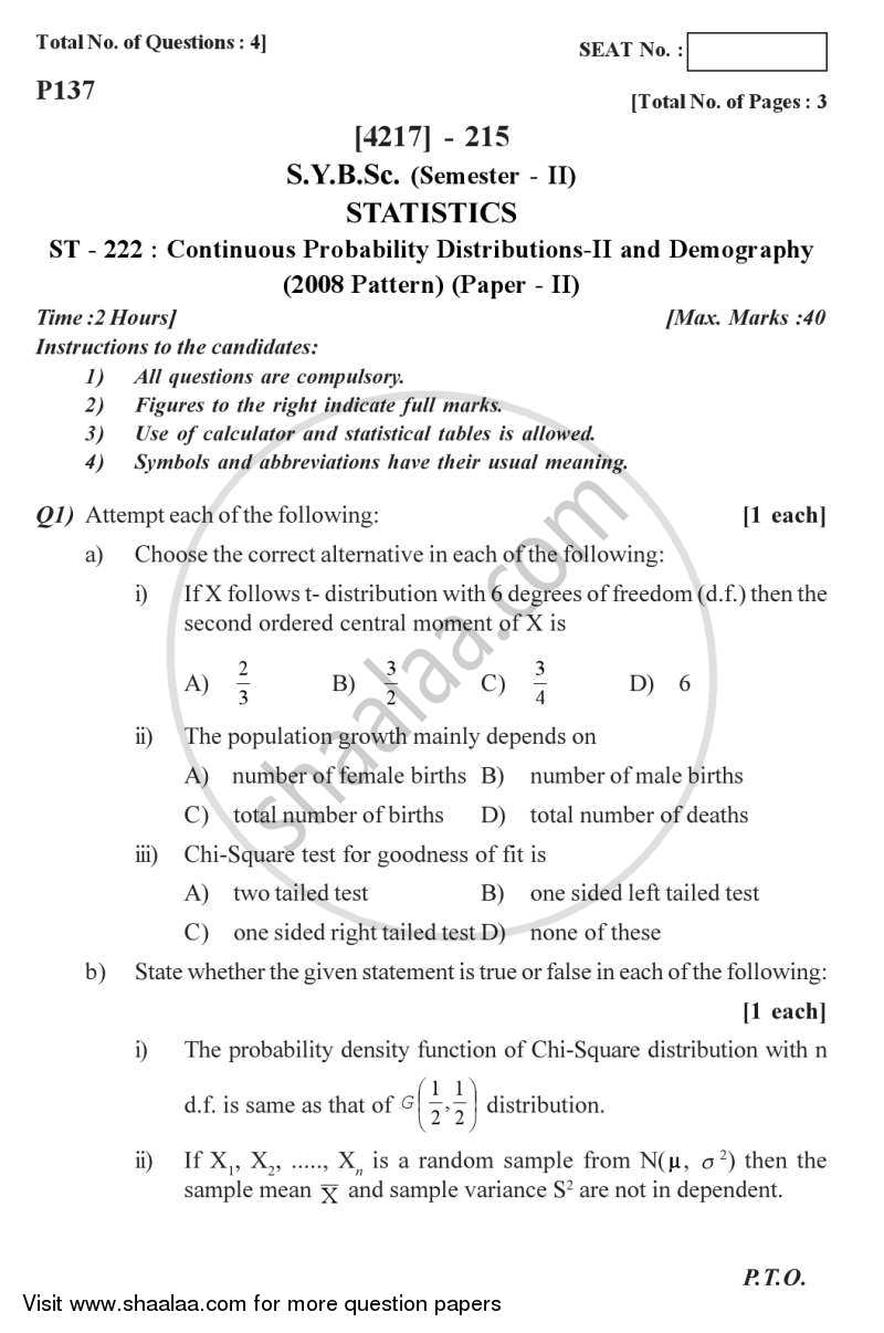Question Paper - Continuous Probability Distributions 2 and Demography 2012 - 2013 - B.Sc. - Semester 4 (SYBSc) - University of Pune