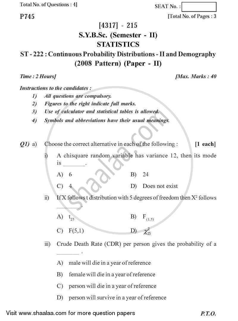 Question Paper - Continuous Probability Distributions 2 and Demography 2013 - 2014 - B.Sc. - Semester 4 (SYBSc) - University of Pune