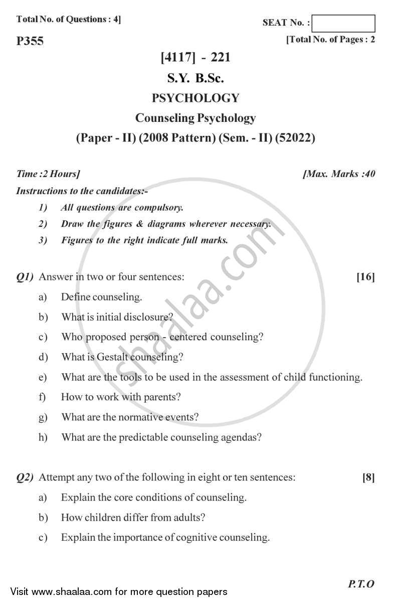 Question Paper - Counselling Psychology 2012 - 2013 - B.Sc. - Semester 4 (SYBSc) - University of Pune