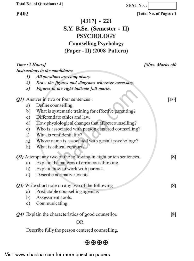 Question Paper - Counselling Psychology 2013 - 2014 - B.Sc. - Semester 4 (SYBSc) - University of Pune