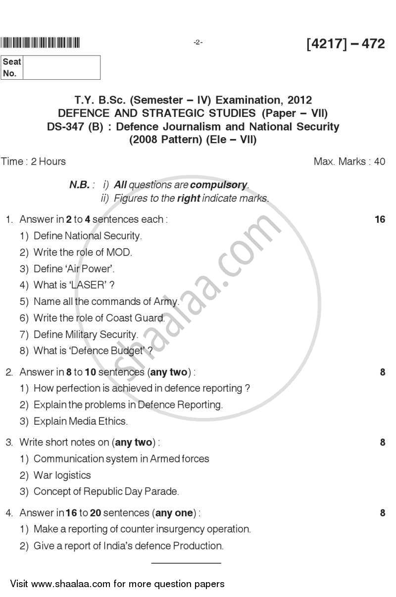 Question Paper - Defence Journalism and National Security 2012 - 2013-B.Sc.-Semester 6 (TYBSc) University of Pune