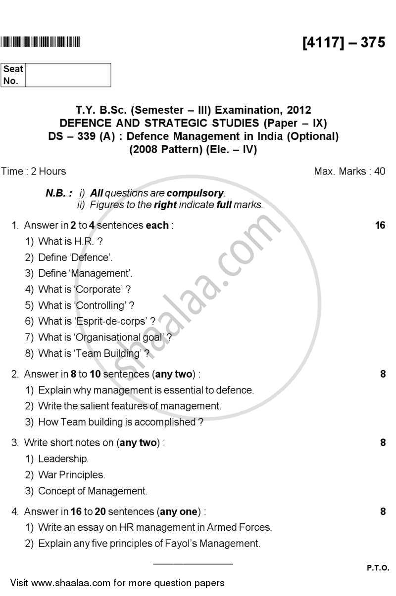 Question Paper - Defence Management in India 2012 - 2013 - B.Sc. - Semester 5 (TYBSc) - University of Pune