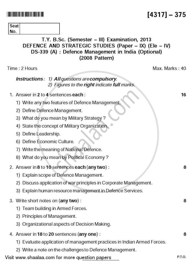 Question Paper - Defence Management in India 2013 - 2014 - B.Sc. - Semester 5 (TYBSc) - University of Pune