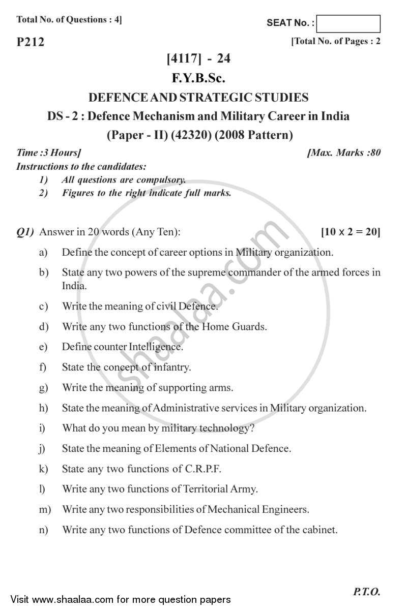 Question Paper - Defence Mechanism and Military Career in India 2012 - 2013-B.Sc.-Semester 2 (FYBSc) University of Pune