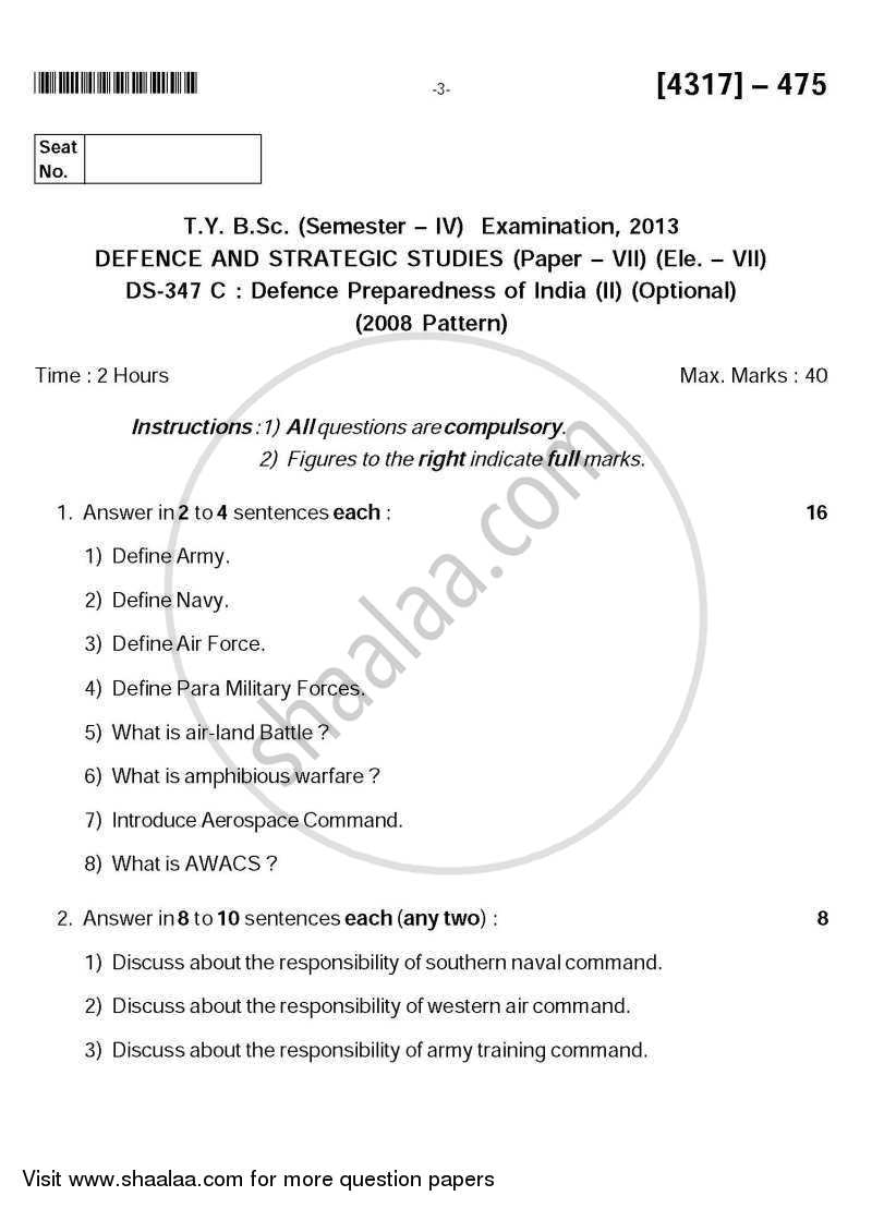 Question Paper - Defence Preparedness of India 2 2012 - 2013 - B.Sc. - Semester 6 (TYBSc) - University of Pune
