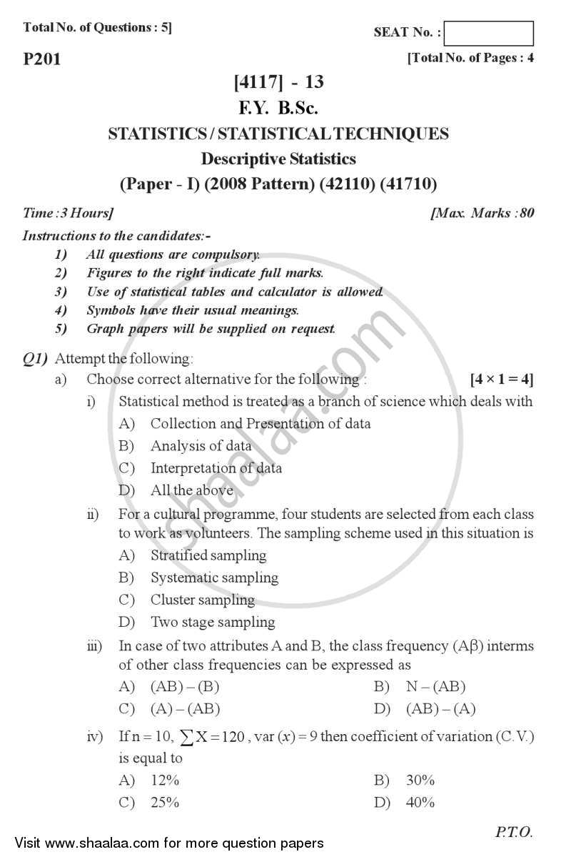 Question Paper - Descriptive Statistics 2012 - 2013 - B.Sc. - Semester 2 (FYBSc) - University of Pune