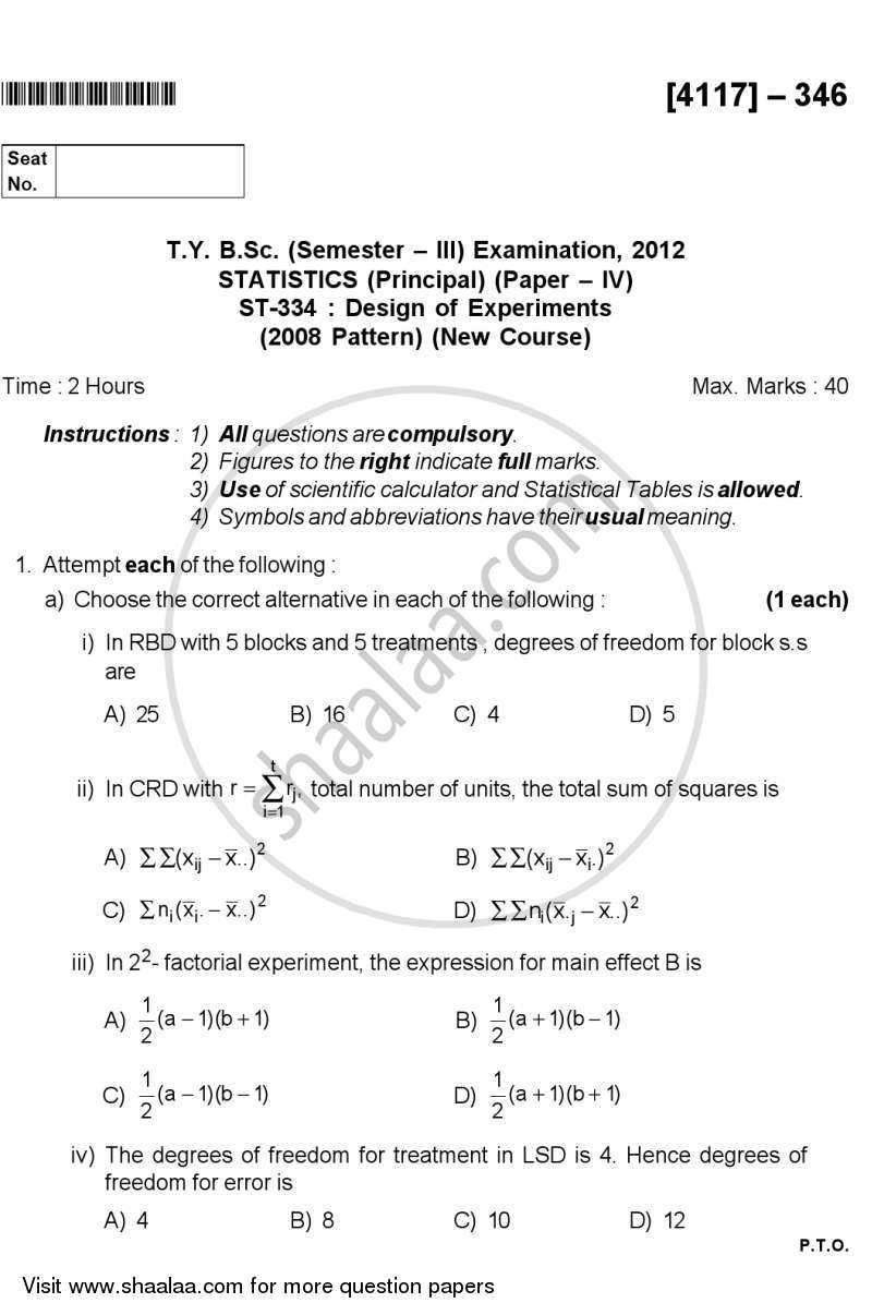 Design of Experiments 2012-2013 B Sc Statistics Semester 5 (TYBSc