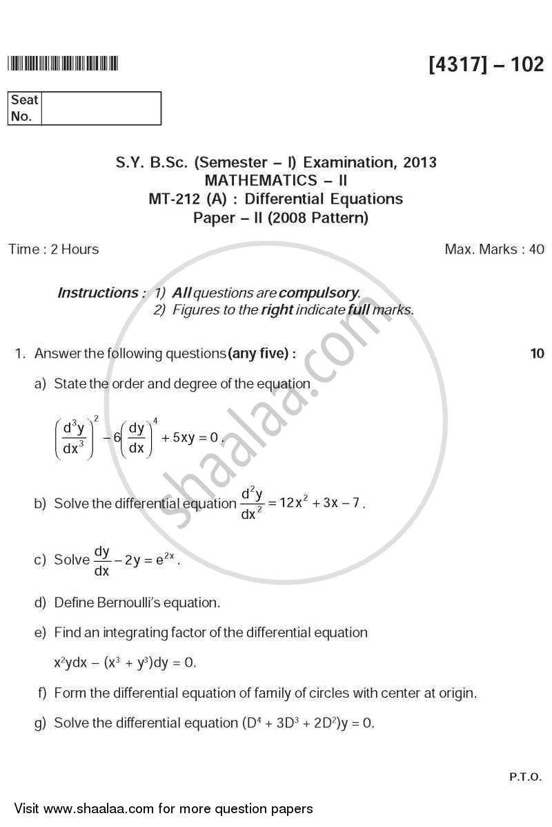 Question Paper - Differential Equations 2013 - 2014 - B.Sc. - Semester 3 (SYBSc) - University of Pune