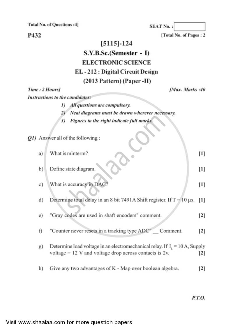 question paper b sc electronic science semester 3 (sybsc) digitalquestion paper digital circuit design 2016 2017 b sc semester