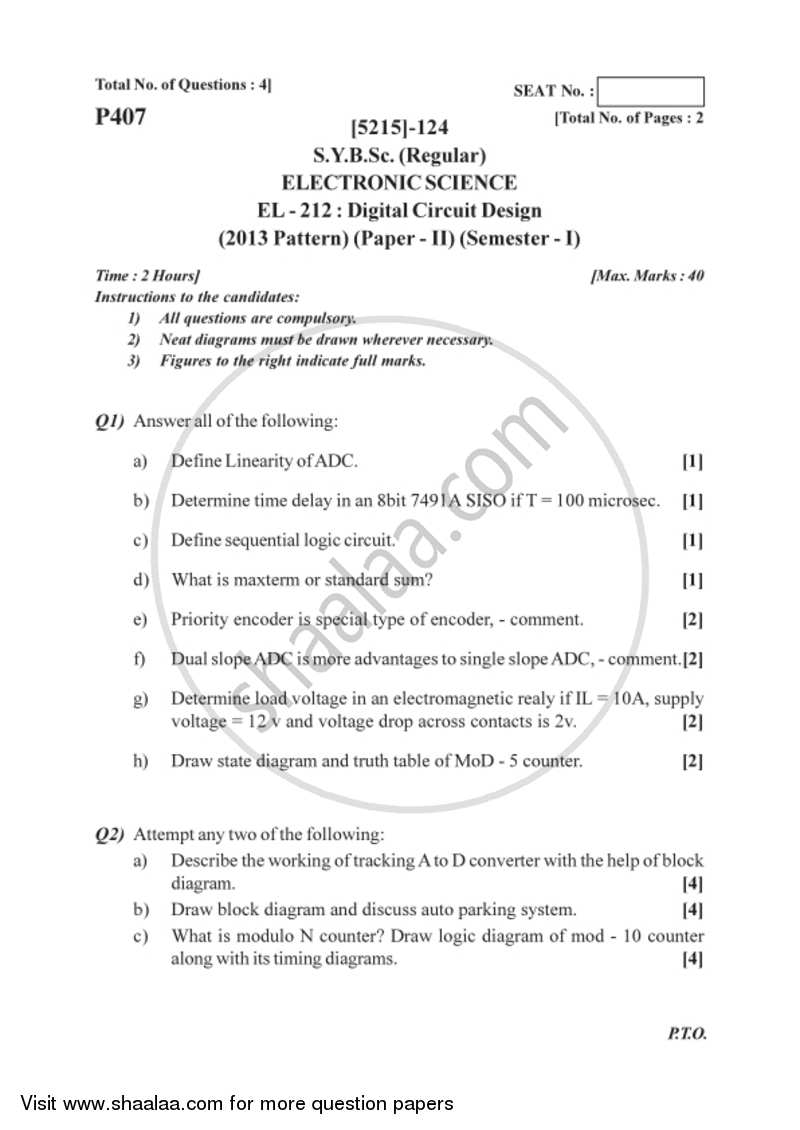 Question Paper Digital Circuit Design 2017 2018 Bsc Electronic And Logic Semester