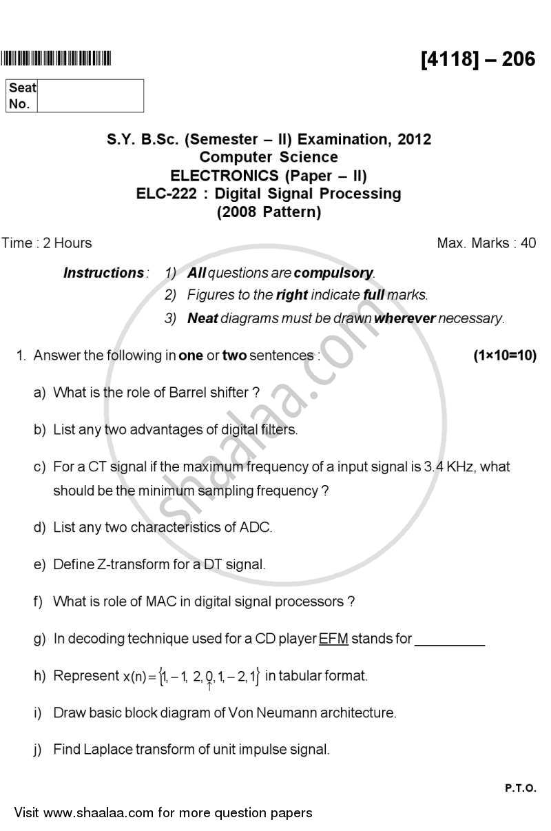Question Paper - Digital Signal Processing 2012 - 2013 - B.Sc. - Semester 4 (SYBSc) - University of Pune