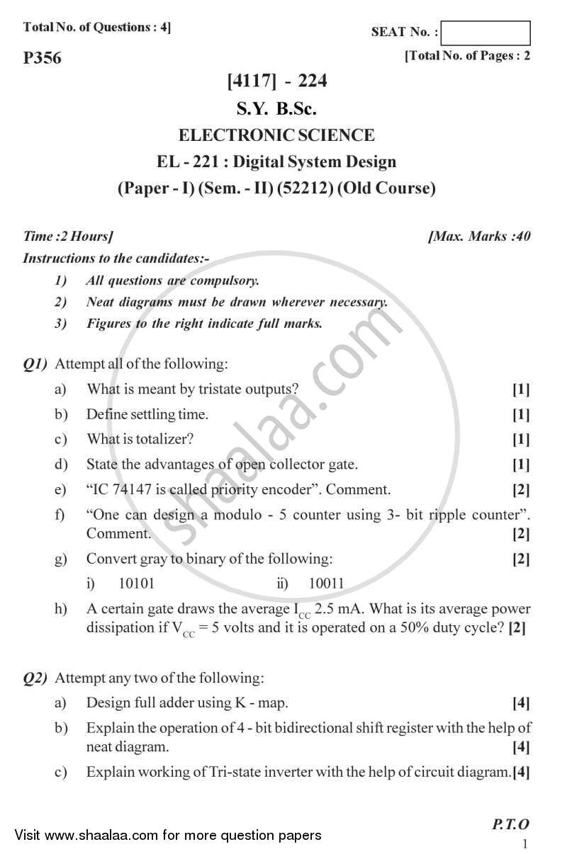 Question Paper - Digital System Design 2012 - 2013 - B.Sc. - Semester 4 (SYBSc) - University of Pune