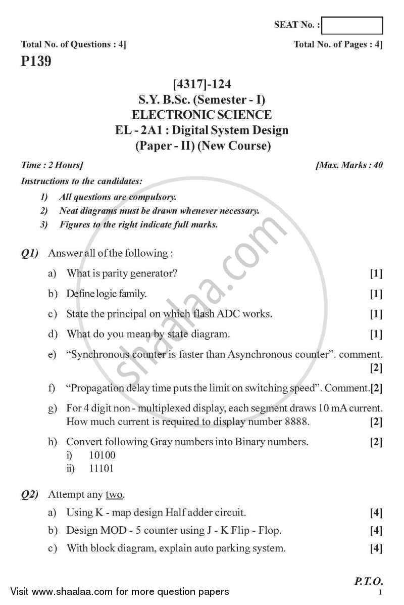 Digital System Design 2013-2014 - B.Sc. - Semester 4 (SYBSc) - University of Pune question paper with PDF download